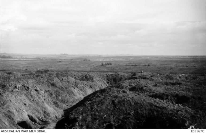 THE VIEW FROM VENDHUILLE NEAR THE HINDENBERG LINE WHERE THE 10TH INFANTRY BRIGADE WERE ON 29 SEPTEMBER 1918. Image courtesy of the Australian War Memorial https://www.awm.gov.au/collection/E03567C/