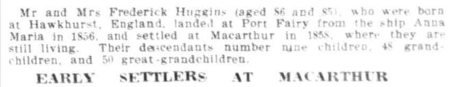 """EARLY SETTLERS AT MACARTHUR"" Weekly Times (Melbourne, Vic. : 1869 - 1954) 6 September 1919: 25. http://nla.gov.au/nla.news-article222567748"