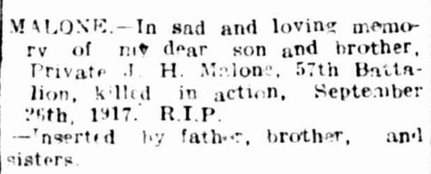 """Family Notices"" Hamilton Spectator (Vic. : 1870 - 1918) 26 September 1918: 4. 6 ."