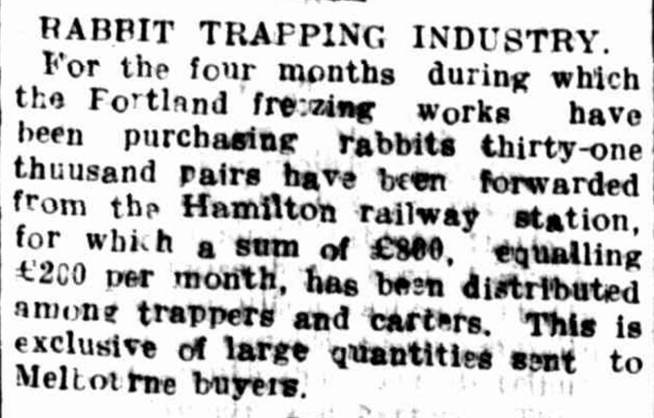 """RABBIT TRAPPING INDUSTRY"" Hamilton Spectator (Vic. : 1870 - 1918) 16 July 1915: 4. ."