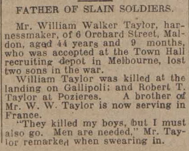 """""""FATHER OF SLAIN SOLDIERS."""" The Bendigo Independent (Vic. : 1891 - 1918) 27 June 1917:."""