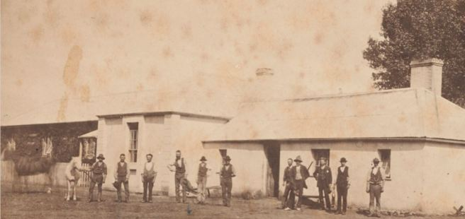 CECIL PYBUS COOKE, 4th from right, OUTSIDE THE MEN'S HUT AT MURNDAL. Image courtesy of the State Library of Victoria. http://handle.slv.vic.gov.au/10381/334457