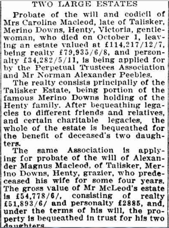 """""""Wills and Estates"""" Weekly Times (Melbourne, Vic. : 1869 - 1954) 12 December 1914: ."""