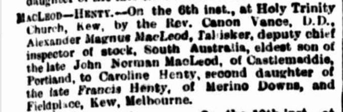 """Family Notices"" The Argus (Melbourne, Vic. : 1848 - 1957) 22 August 1890: http://nla.gov.au/nla.news-article8429127"