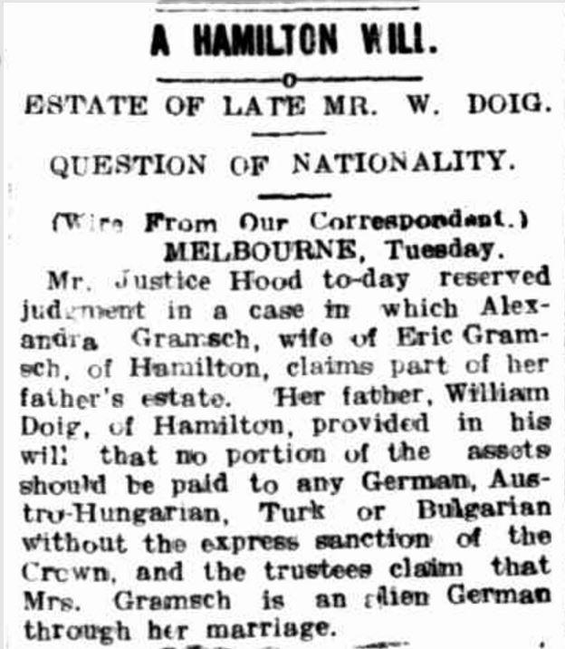 """""""A HAMILTON WILL"""" Hamilton Spectator (Vic. : 1870 - 1918) 22 November 1916: 4. Web. 12 Nov 2016 ."""