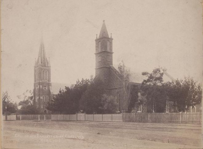 ST. ANDREW'S PRESBYTERIAN CHURCH c1890.  Image courtesy of the State Library of Victoria http://handle.slv.vic.gov.au/10381/69513