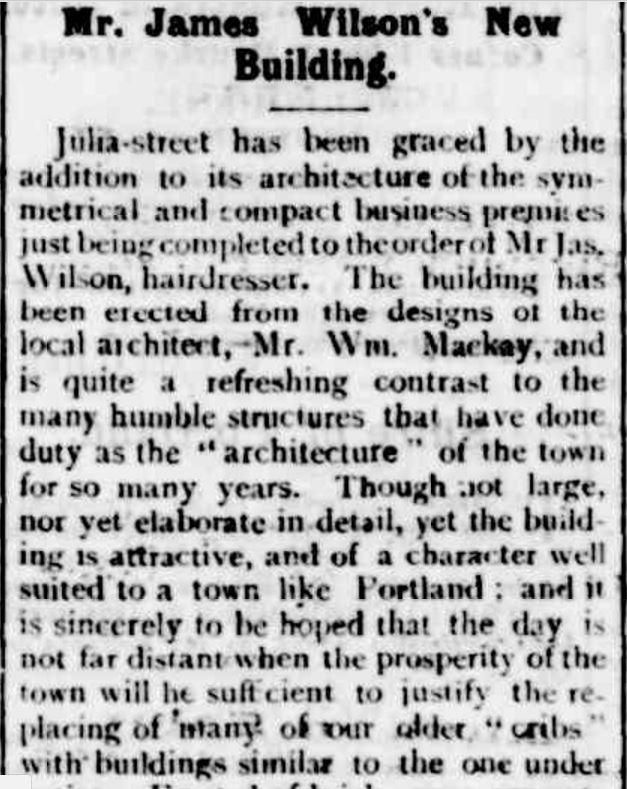 """Mr. James Wilson's New Building."" Portland Guardian (Vic. : 1876 - 1953) 14 November 1894: ."