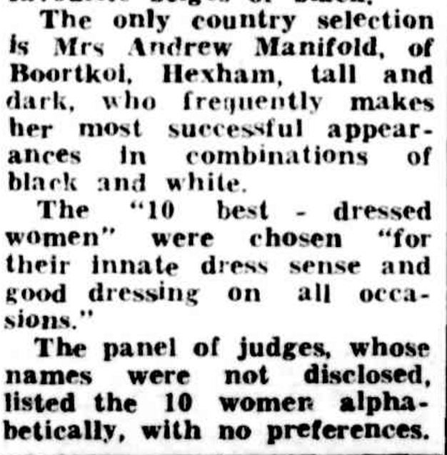"""""Grannies"" among best-dressed"" The Argus (Melbourne, Vic. : 1848 - 1957) 12 January 1950: 3. Web. 28 Feb 2017 ."