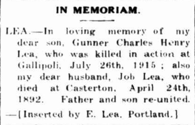"""Family Notices"" Portland Guardian (Vic. : 1876 - 1953) 24 July 1933: 2 (EVENING.). Web. 5 Mar 2017 ."