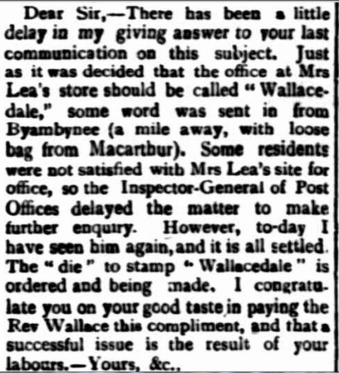 """Wallacedale."" Portland Guardian (Vic. : 1876 - 1953) 15 February 1899: 3 (EVENING). Web. 6 Mar 2017 ."